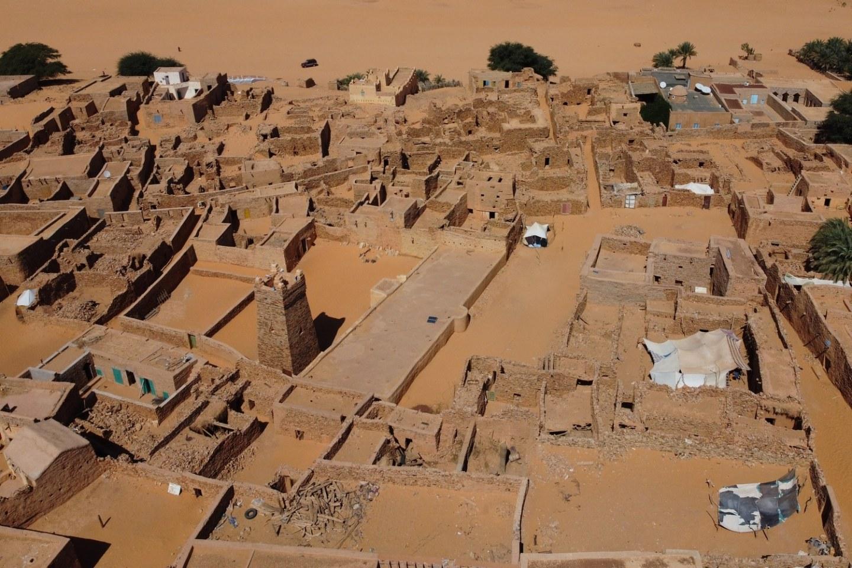 Chinguetti Mauritania Sahara Desert Mosque Old Town Drone shot