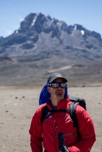 On the 4500m saddle between Mawenzi (in background) and Kibo, Kilimanjaro