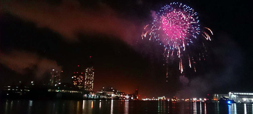 View of the Fireworks from Mobile Harbor aboard the fully enclosed Osprey on WildNative's NYE Fireworks Cruise