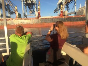 Watching a ship unload