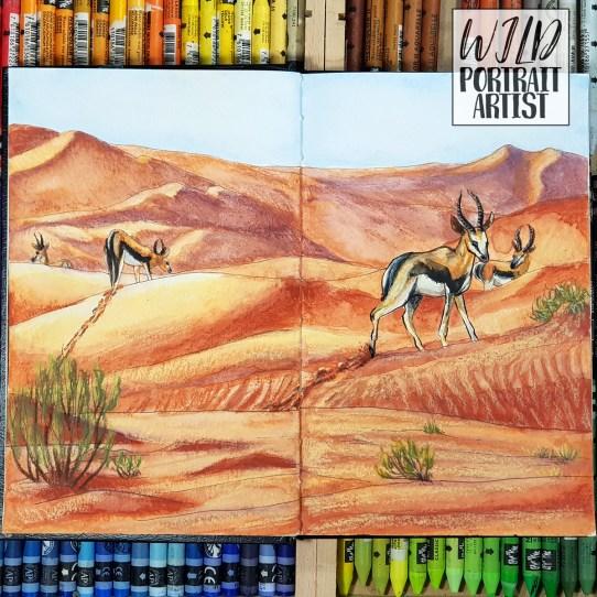 A sketchbook illustration of desert wildlife I painted in Neocolor 2s for Inktober