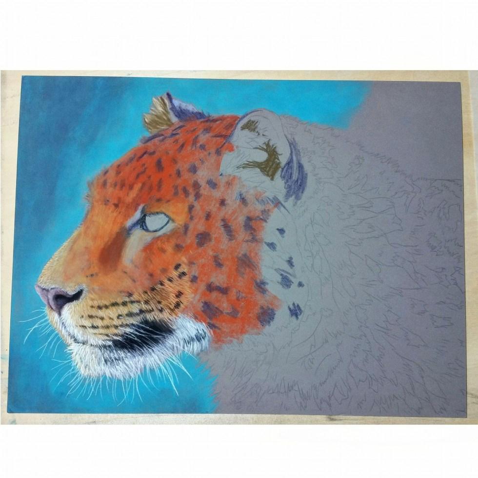 amur leopard work in progress in soft pastels