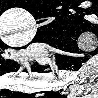 """""""Asteroid Runner"""" 30.5 x 22cm pen and ink drawing on Strathmore Bristol Smooth paper. Art by Wild Portrait Artist. Available for sale."""