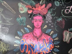 not a street mural, but artwork on chalkboard of our favorite little licuado place :)