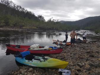 Quick Tea break after a big Paddle on the Nymboida River after fishing for Bass.