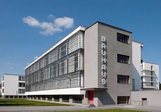 Front view of the Bauhaus campus in Dessau, Germany