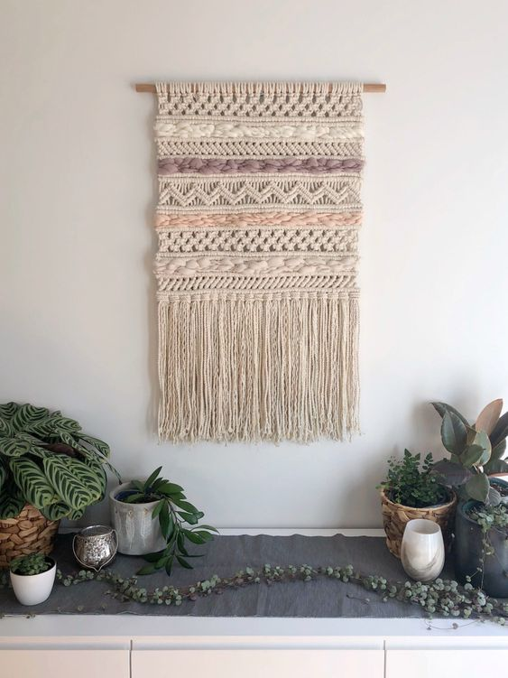 Woven wall hanging bohemian style decoration