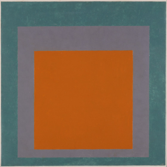 Famous modern abstract painting by Josef Albers, Homage to the Square