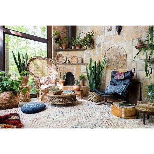 Boho chic decor style sitting room