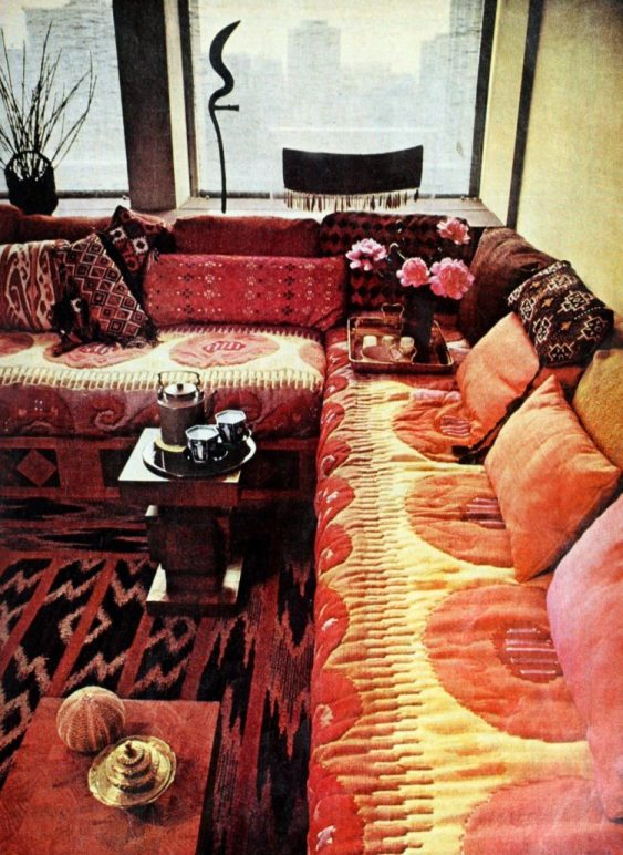 Seventies vintage bohemian style couch