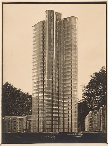 Glass Skyscraper model, a proposal from Ludwig Mies van Der Rohe