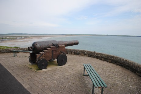 The canon pointing out to the point where the Seahorse struck the sea bed.
