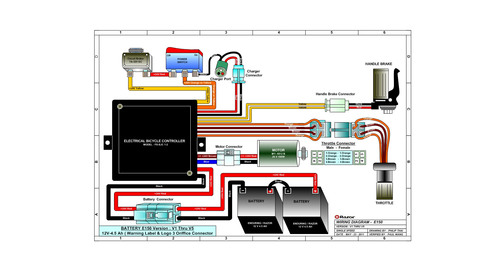 Electric Scooter Wiring Diagram Moreover Razor Espark Electric Scooter