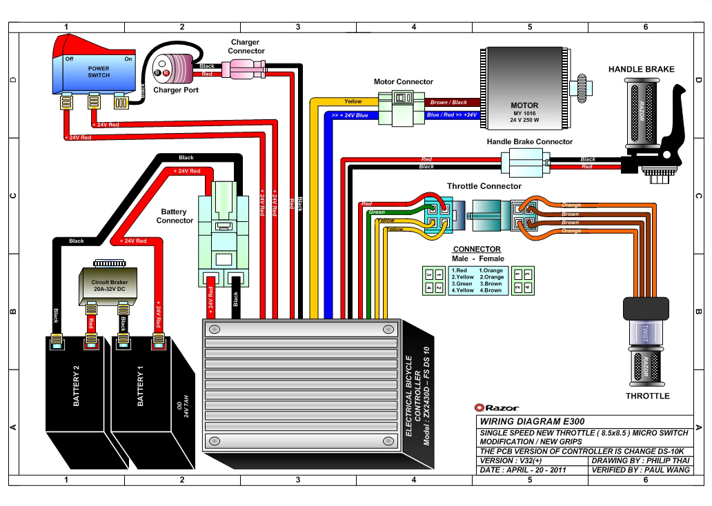 Razor Electric Scooter Electrical Diagram Razor Brand Oem Replacement Parts For The Razor E300 E300s