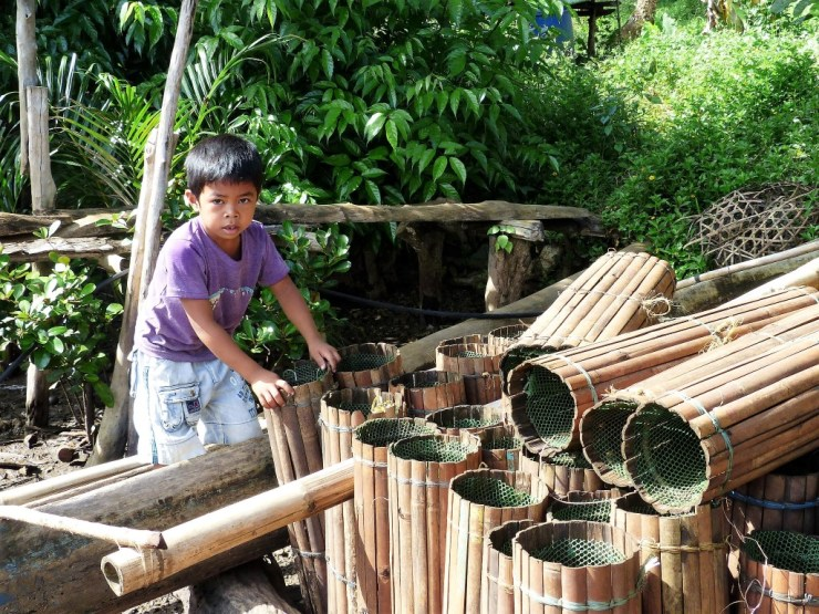 These bamboo 'bobo' traps are used to catch both shrimp and crabs.