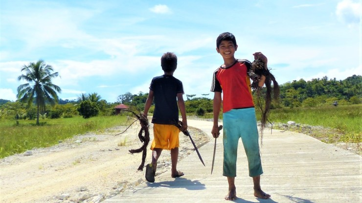 Philippine boys fishing with roots
