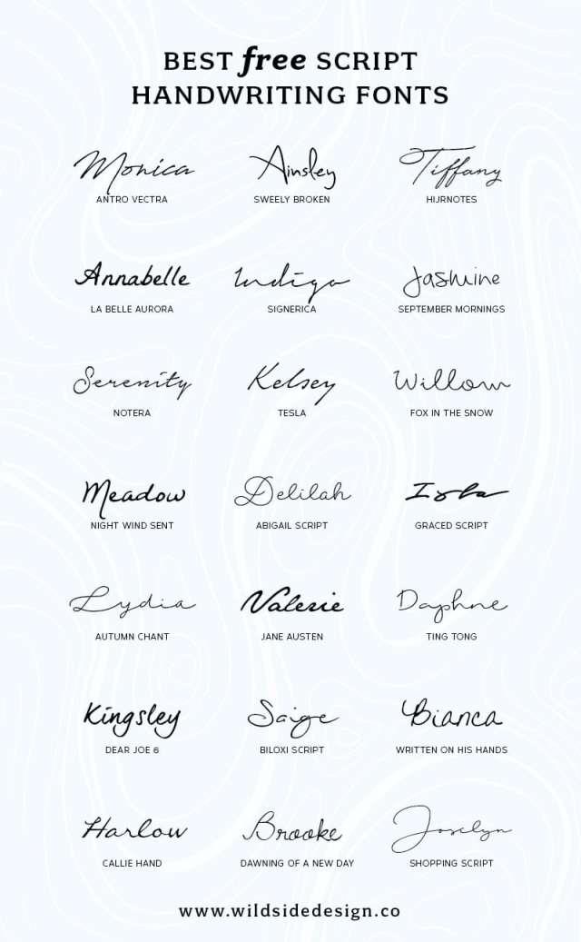 Best Free Script Handwriting Fonts  Wild Side Design Co.