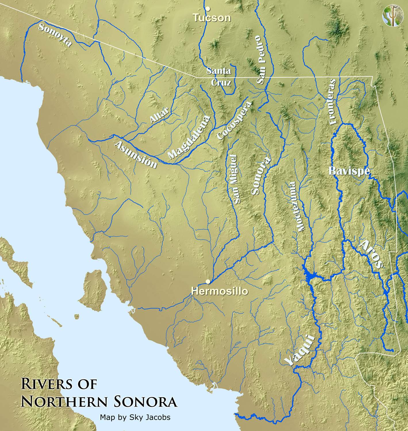 Map Of Rivers Northern Sonora Mexico Wild