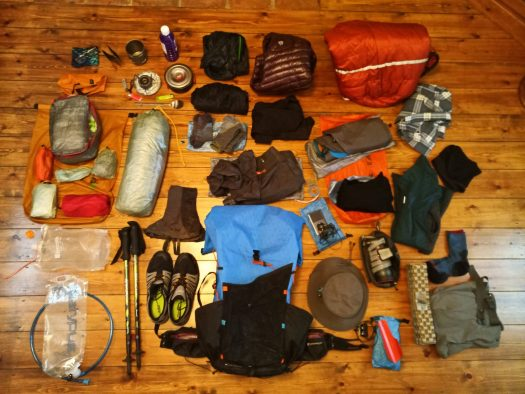 Walking gear laid out on floor