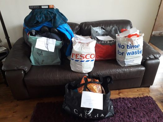 Re-supply bags packed and laid out on the sofa