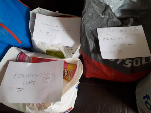 Close-up of the re-supply bags shing the labels for different stages of the walk