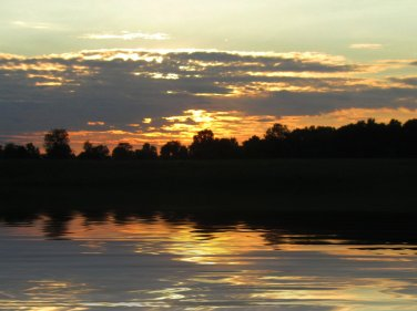 september sunset lake scene, south indiana