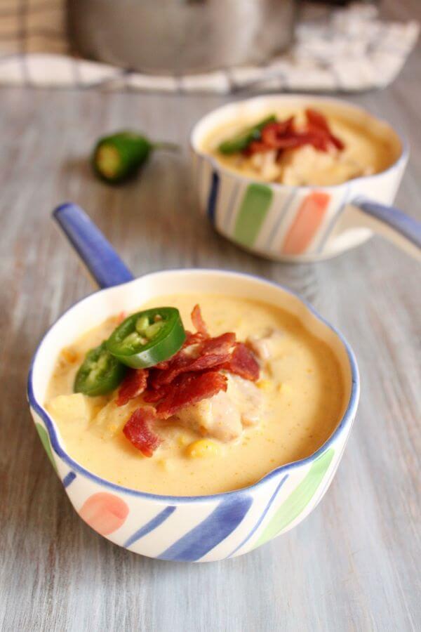 Jalapeno Chicken Corn Chowder | wildwildwhisk.com