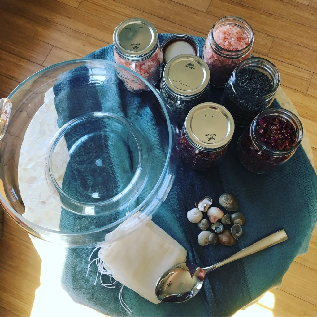 Ritual supplies to make a tea bath_March 2018