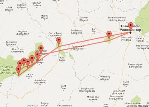 Orkhon Valley Horseback Adventure map