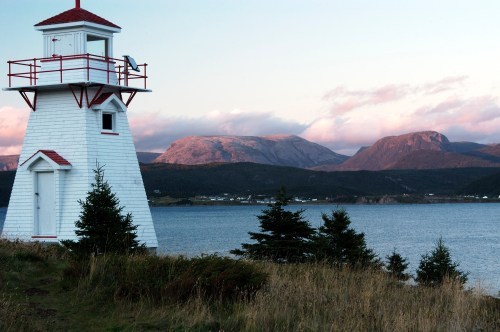 Norris Point and Gros Morne mountain from the Woody Point Lighthouse.