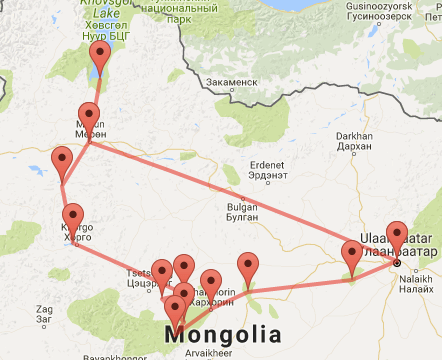 Marvels of Mongolia map