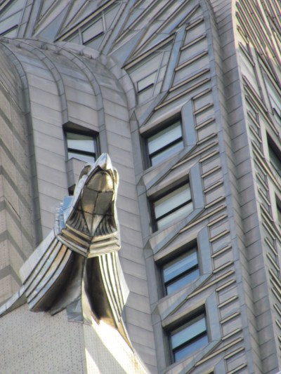 Gargoyle perched at the top of the Chrysler building. Hard to spot without a zoom camera :(