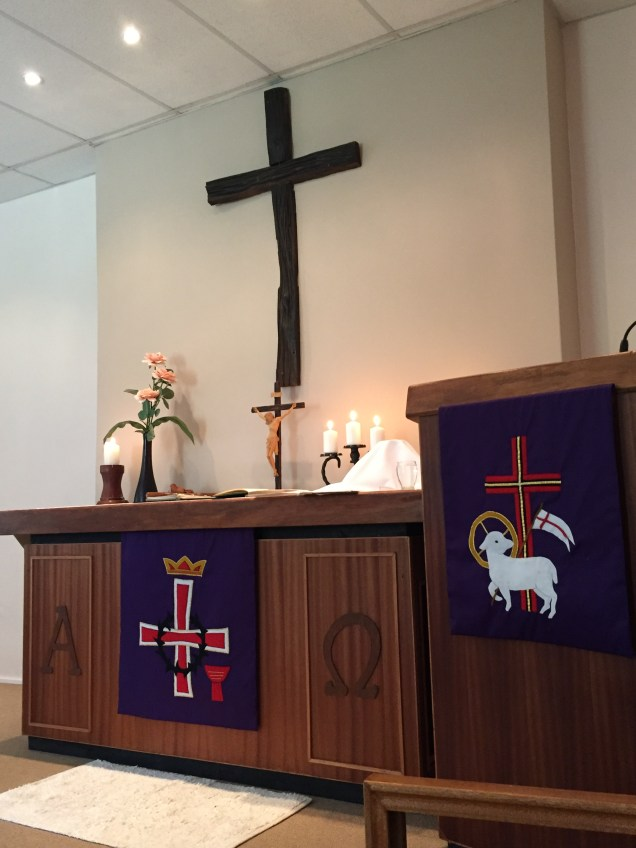 The altar and pulpit in the chapel of the St.Paul's afrikaans congregation.