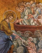 Jesus holds the sinking Peter