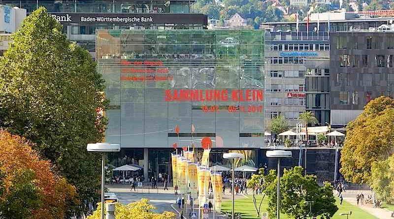 Vom Stadtpalais aufs Kunstmuseum Stuttgart geblickt
