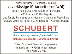 Stellenanzeige der Gebäudereinigung Schubert