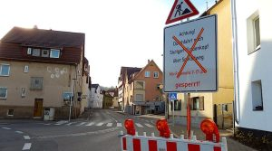 Baustellenhinweis zum Speidelweg am Dürrbachkreisverkehr in Hedelfingen