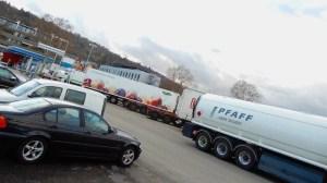 Parkplatz des Autohofes in Wangen