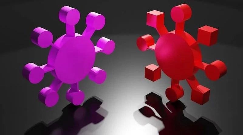 Pink und rote stilisierte Coronaviren