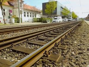 Stadtbahngleis vor der Wilhelmsschule
