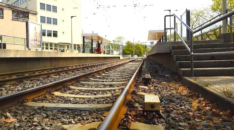 Gleise der Haltestelle Wasenstraße