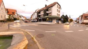 Fisheye-Aufnahme der Kreuzung Birkacher Straße Kemnat