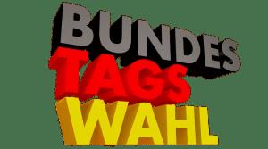 Wort Bundestagswahl in Großbuchstaben und Schwarz-Rot-Gelb