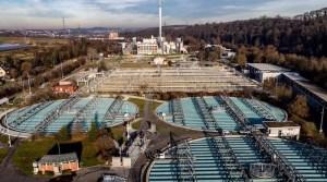 Blick auf das Hauptklärwerk Mühlhausen