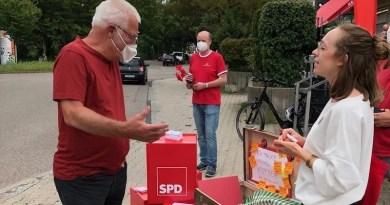 SPD-Wahlkampf mit Lucia Schanbacher vor REWE Heumaden