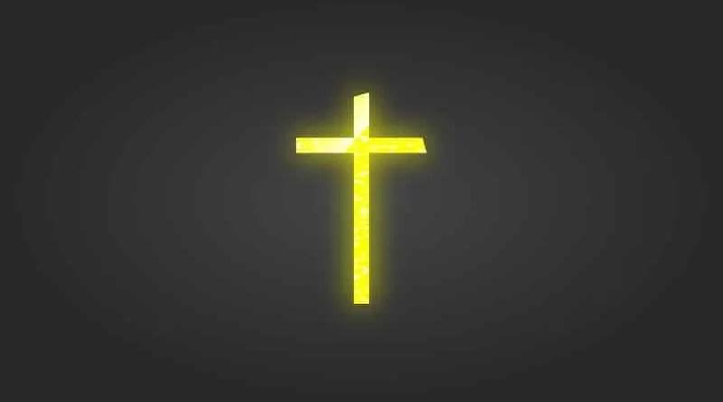 gelbes Kirchenkreuz auf schwarzem Grund