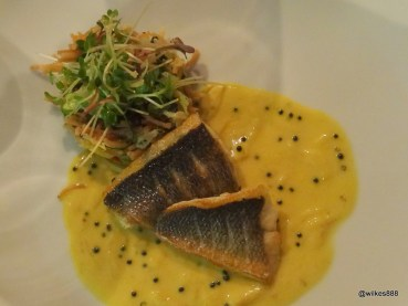 """Benares Restaurant (Mayfair) - """"Meen Moilee"""" (Pan-Roasted Wild Sea Bass, Vermicelli, Coconut and Curry Leaf Sauce)"""