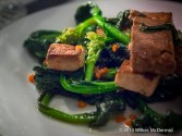Tofu Salad with Wild Broccoli, Garlic and Chili oil