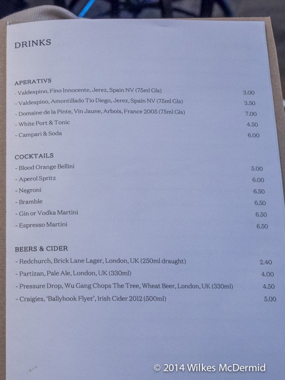 8 Hoxton Square Drinks Menu