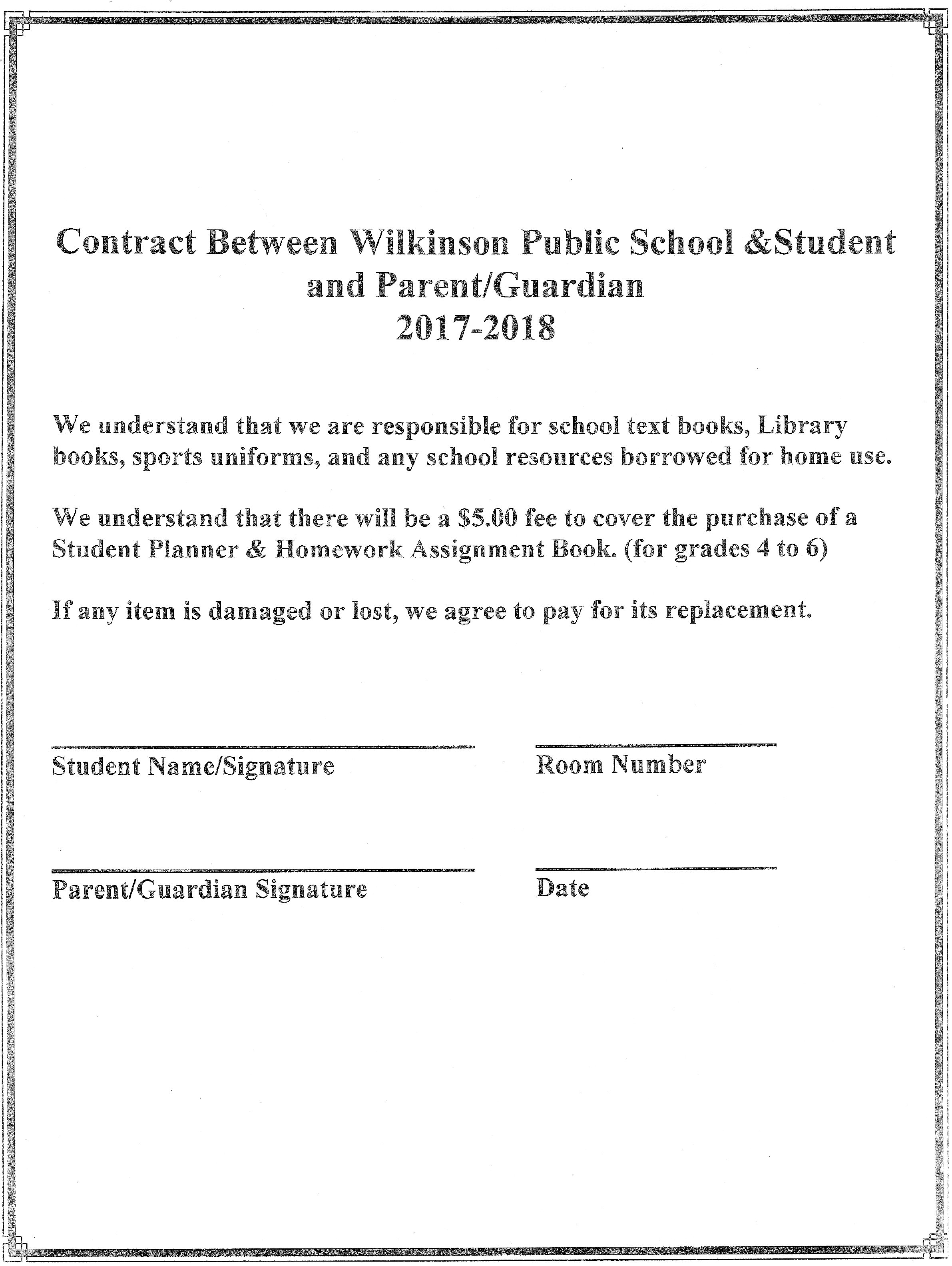 Student Contract Form